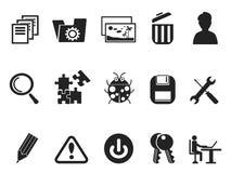 Uppsättning för programvaru- och IT-programbäraresymbol Arkivbild