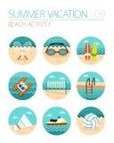 Uppsättning för strandaktivitetssymbol Sommar semester Royaltyfri Fotografi