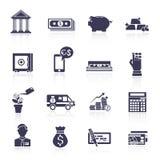 Uppsättning för svart för symboler för bankservice Royaltyfri Bild