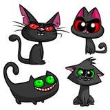 Uppsättning för svarta katter för allhelgonaafton Symboler för vektorhäxakatter Royaltyfri Fotografi
