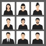 Uppsättning för symbol för Avatarprofilbild inklusive man och kvinnlig Royaltyfri Fotografi