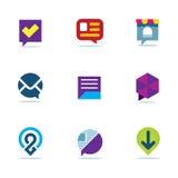 Uppsättning för symbol för logo för gemenskap för nätverk för dialog för bubblapratstundsamtal social Royaltyfri Fotografi