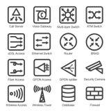 Uppsättning för symbol för nätverksutrustning Fotografering för Bildbyråer