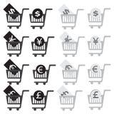 Uppsättning för symbol för shoppingvagn Arkivbild