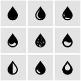 Uppsättning för symbol för vektorsvartdroppe Royaltyfri Foto