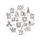 Uppsättning för symbol för översikt för mall för oljeindustrirundadesign vektor Royaltyfri Bild