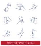 Uppsättning för symbol för vintersportar Arkivbild
