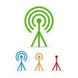 Uppsättning för symboler för antenntorn Arkivbilder