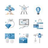 Uppsättning för symboler för finans- och investeringpengarlägenhet Arkivfoto