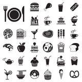 uppsättning för symboler för för vektormenymat och drink Arkivbilder
