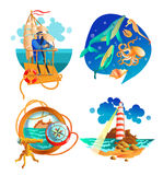 Uppsättning för symboler för havshav nautisk Royaltyfri Bild