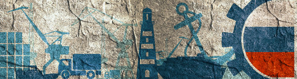 Uppsättning för symboler för lastport relativ Ryssland flagga i kugghjul Royaltyfri Foto