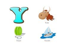 Uppsättning för symboler för unge för abcbokstav Y rolig: yak jojjade, yachten Royaltyfria Bilder