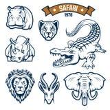 Uppsättning för symboler för vektor för djur för safarijaktklubba Arkivfoto