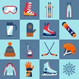 Uppsättning för symboler för vintersport Arkivfoto