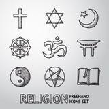 Uppsättning för symboler för världsreligion hand dragen vektor Arkivbild