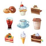 Uppsättning för tecknad film för vektor för gatakaféprodukter Choklad, muffin, kaka, kopp kaffe, munk, cola och glass Royaltyfri Bild