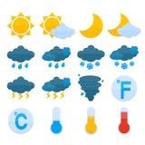 Uppsättning för väderprognossymboler Arkivbild