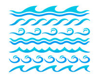 Uppsättning för vektor för beståndsdelar för design för vattenvågor Fotografering för Bildbyråer