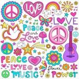 Uppsättning för vektor för fredförälskelse- och musikanteckningsbokklotter Fotografering för Bildbyråer