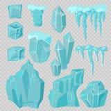 Uppsättning för vektor för istäckesnödriva- och istappbeståndsdelar Arkivbilder