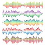 Uppsättning för vektor för solida vågor Ljudsignal utjämnare Royaltyfria Foton