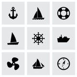 Uppsättning för vektorskepp- och fartygsymbol Royaltyfri Bild