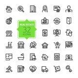 Uppsättning för översiktsrengöringsduksymbol - Real Estate Royaltyfria Foton