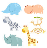 Uppsättning för zoodjursymbol Fotografering för Bildbyråer