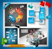 Uppsättning och idékläckning för Infographic teamworkbaner med plan stil Arkivbild