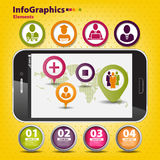 Uppsättning som är infographic på teamwork i affär Royaltyfri Bild