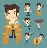 Uppsättningen av affärsmannen gör pengartecken poserar Arkivfoton