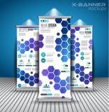 Uppsättningen av annonseringen rullar upp affärsreklamblad eller broschyrx-baner Arkivbilder