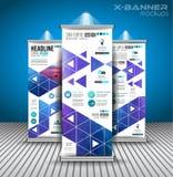 Uppsättningen av annonseringen rullar upp affärsreklamblad eller broschyrx-baner Arkivbild