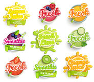 Uppsättningen av apelsinen, citronen, limefruktsmoothien och nya etiketter plaskar Royaltyfri Fotografi