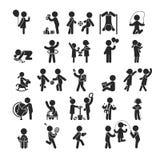 Uppsättningen av barnaktiviteter spelar och lär, mänskliga pictogramsymboler Fotografering för Bildbyråer