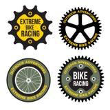 Uppsättningen av den extrema sporten för cykeln gällde logoen, emblem Arkivbild