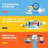 Uppsättningen av den plana linjen designrengöringsdukbaner för online-boklagret, eBook, vet hur Royaltyfri Bild