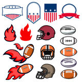 Uppsättningen av emblem för amerikansk fotboll planlägger beståndsdelen och mallar A Royaltyfri Foto