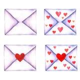 Uppsättningen av förälskelsebokstaven i kuvert målade i vattenfärg på en isolerad vit bakgrund Kuvert med hjärta Dag för valentin Royaltyfri Foto