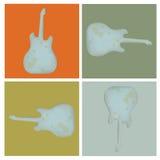 Uppsättningen av grunge fyra vaggar gitarren Arkivfoto