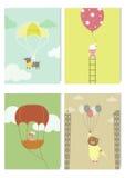 Uppsättningen av gulliga djur i ballonger för varm luft, ungar planlägger, vektorillustrationer Royaltyfri Bild