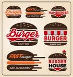 Uppsättningen av hamburgaren shoppar symbolslogodesign Arkivbilder