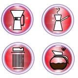 Uppsättningen av knappar av kaffe behar Arkivfoton