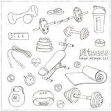 Uppsättningen av konditionbodybuilding bantar, och hälsovård skissar symboler Arkivfoto