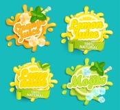 Uppsättningen av lemonad, apelsinen, citronjuice, Mojito etiketter plaskar Royaltyfria Foton