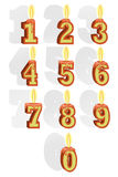 Uppsättningen av nummer i form av bränningstearinljus Royaltyfria Foton