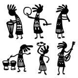 Uppsättningen av objektklottret skissar illustrationen av afrikanska musiker Arkivfoto