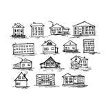 Uppsättningen av skissar huset, vektorillustration Arkivbilder