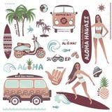 Uppsättningen av symboler för sommar för tappningstil hawaianska surfar flickan, hippie Royaltyfri Fotografi